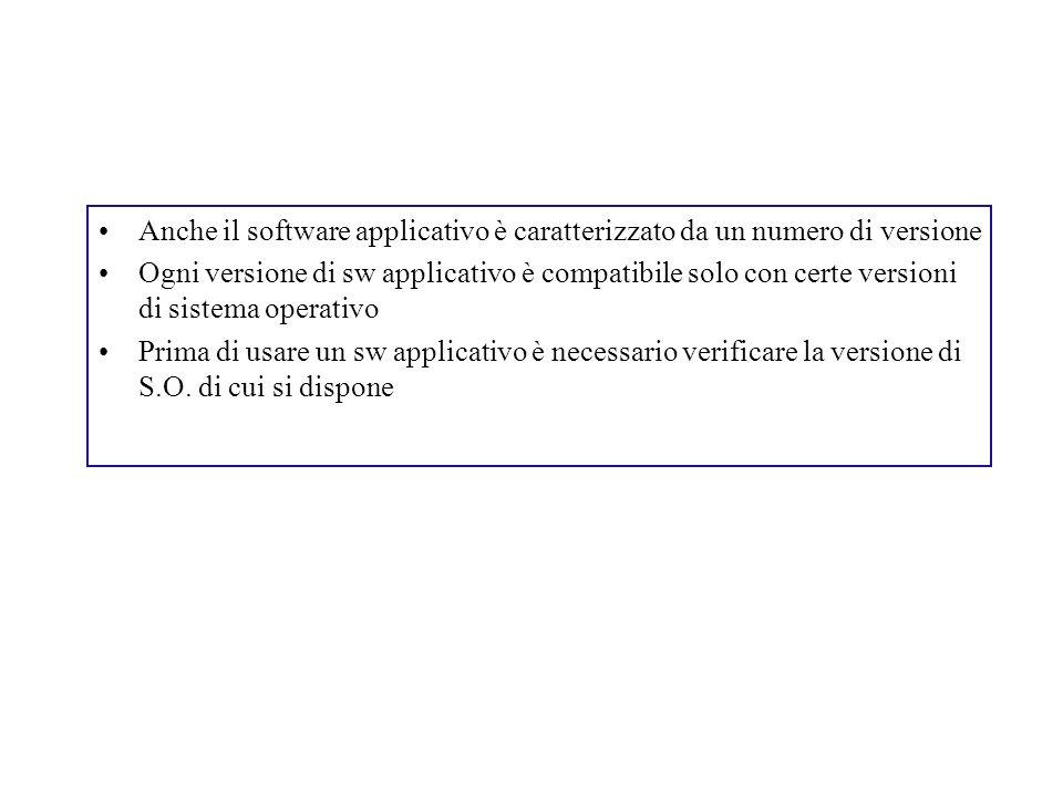 Anche il software applicativo è caratterizzato da un numero di versione Ogni versione di sw applicativo è compatibile solo con certe versioni di siste