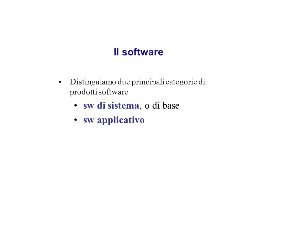 I singoli byte di un file binario non codificano esclusivamente caratteri ma numeri o istruzioni del processore Sono utilizzabili solamente da programmi appositamente scritti per leggerli/scriverli Ognuno ha una propria estensione:.exe,.dll per i file eseguibili in Windows.out per i file eseguibili in Unix.doc per i file di Word.bmp per un immagine bitmap In ambiente Windows il formato dei file è visibile nellestensione che compare nel loro nome (se visibile) e attraverso la relativa icona In ambiente MacOSX il formato dei file è visibile attraverso la relativa icona o dallestensione che compare nel nome