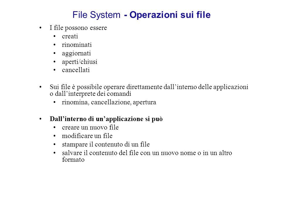 File System - Operazioni sui file I file possono essere creati rinominati aggiornati aperti/chiusi cancellati Sui file è possibile operare direttament