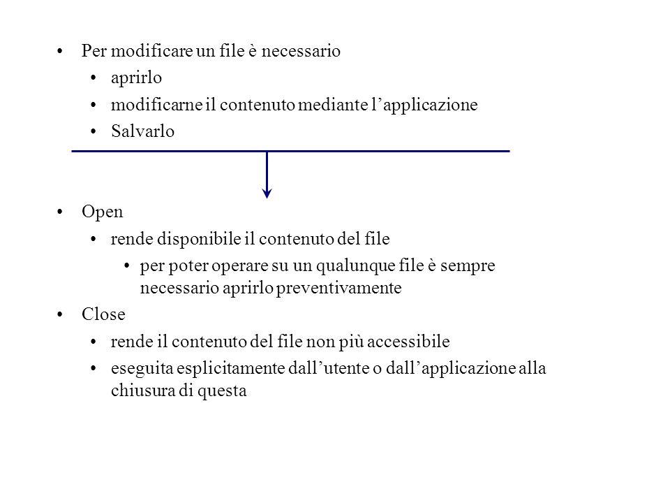Per modificare un file è necessario aprirlo modificarne il contenuto mediante lapplicazione Salvarlo Open rende disponibile il contenuto del file per