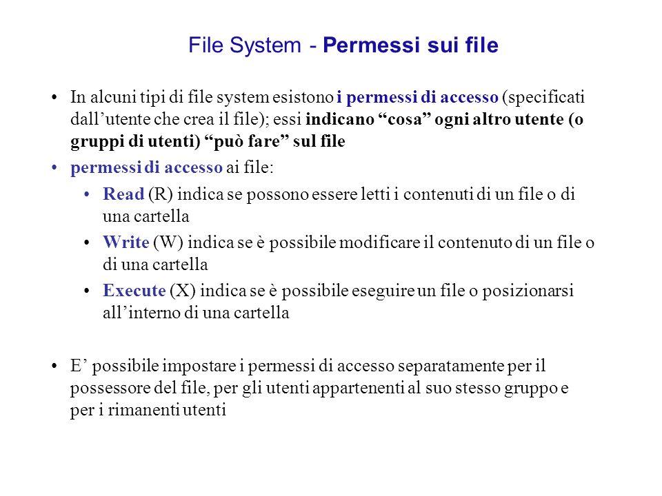 File System - Permessi sui file In alcuni tipi di file system esistono i permessi di accesso (specificati dallutente che crea il file); essi indicano