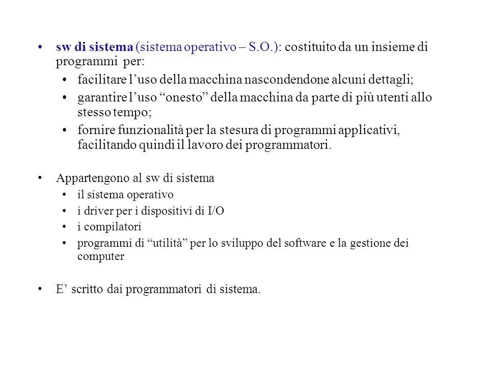 sw di sistema (sistema operativo – S.O.): costituito da un insieme di programmi per: facilitare luso della macchina nascondendone alcuni dettagli; gar