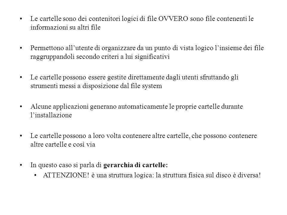Le cartelle sono dei contenitori logici di file OVVERO sono file contenenti le informazioni su altri file Permettono allutente di organizzare da un pu