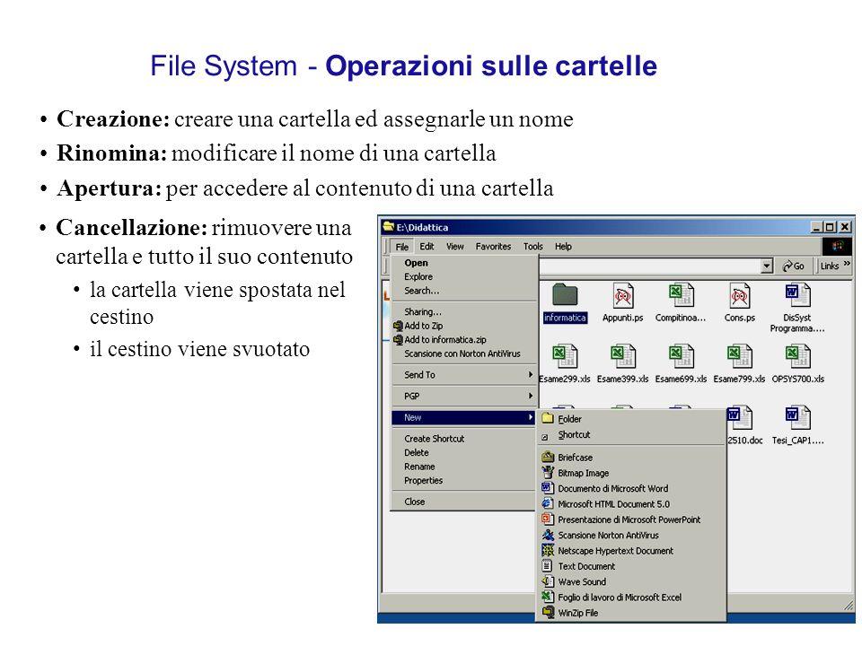 File System - Operazioni sulle cartelle Creazione: creare una cartella ed assegnarle un nome Rinomina: modificare il nome di una cartella Apertura: pe