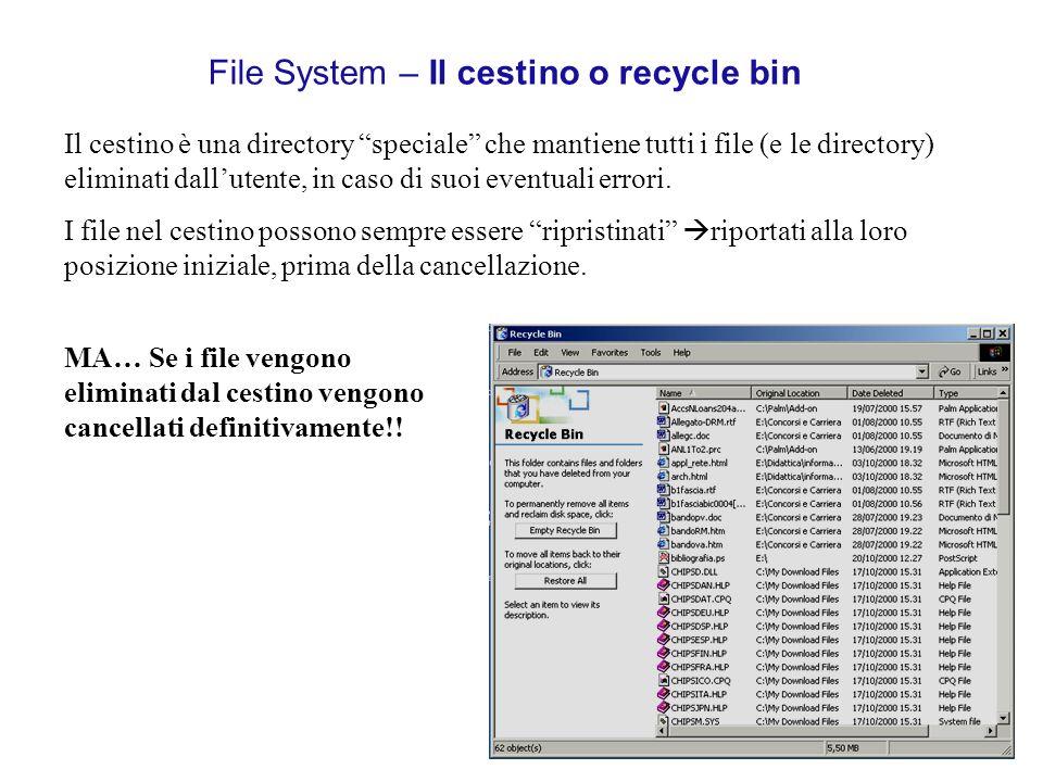File System – Il cestino o recycle bin Il cestino è una directory speciale che mantiene tutti i file (e le directory) eliminati dallutente, in caso di