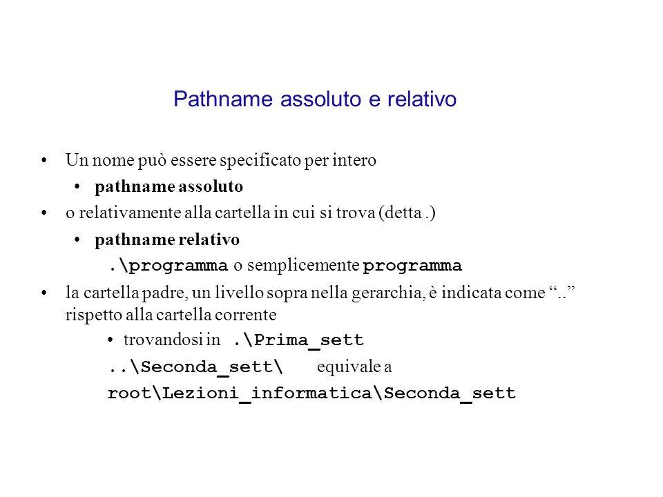 Pathname assoluto e relativo Un nome può essere specificato per intero pathname assoluto o relativamente alla cartella in cui si trova (detta.) pathna