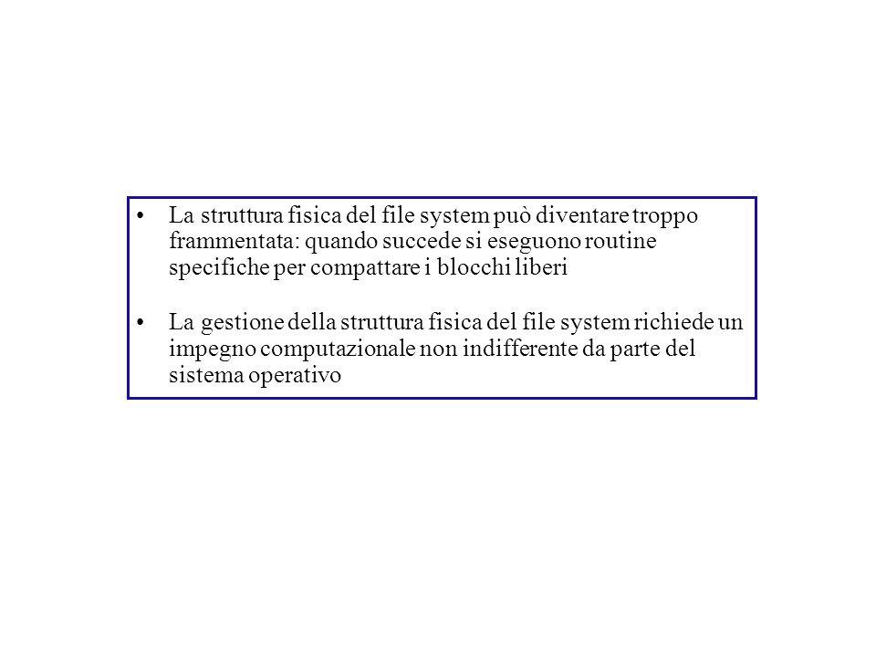 La struttura fisica del file system può diventare troppo frammentata: quando succede si eseguono routine specifiche per compattare i blocchi liberi La