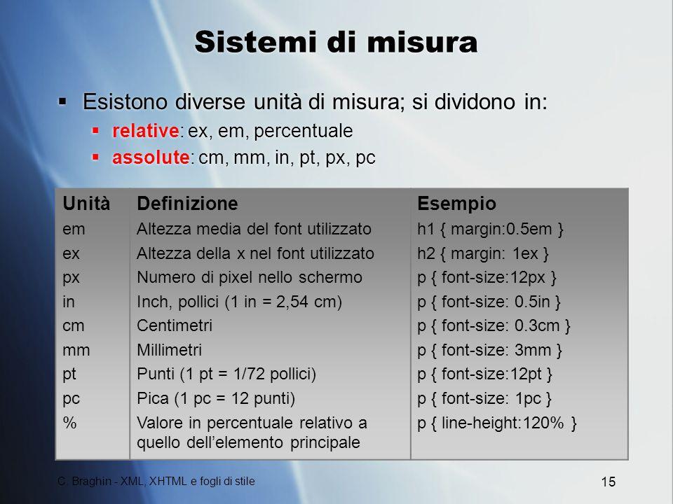 C. Braghin - XML, XHTML e fogli di stile 15 Sistemi di misura Esistono diverse unità di misura; si dividono in: relative: ex, em, percentuale assolute