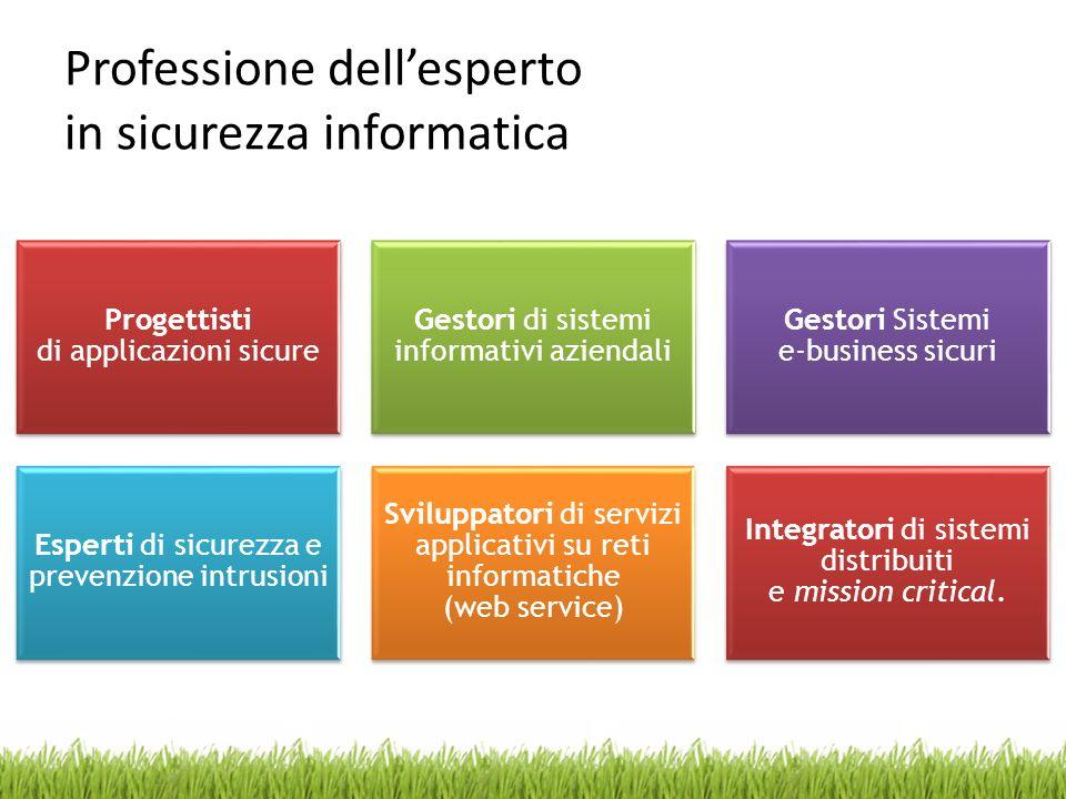 Professione dellesperto in sicurezza informatica Progettisti di applicazioni sicure Gestori di sistemi informativi aziendali Gestori Sistemi e-busines