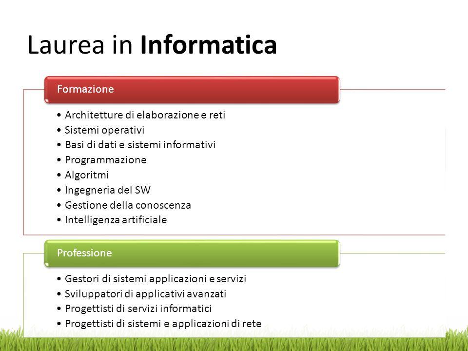 Laurea in Informatica Architetture di elaborazione e reti Sistemi operativi Basi di dati e sistemi informativi Programmazione Algoritmi Ingegneria del