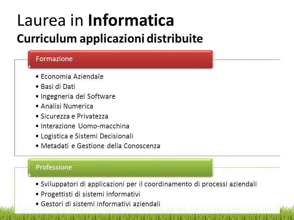 Laurea in Informatica Curriculum applicazioni distribuite Economia Aziendale Basi di Dati Ingegneria del Software Analisi Numerica Sicurezza e Private