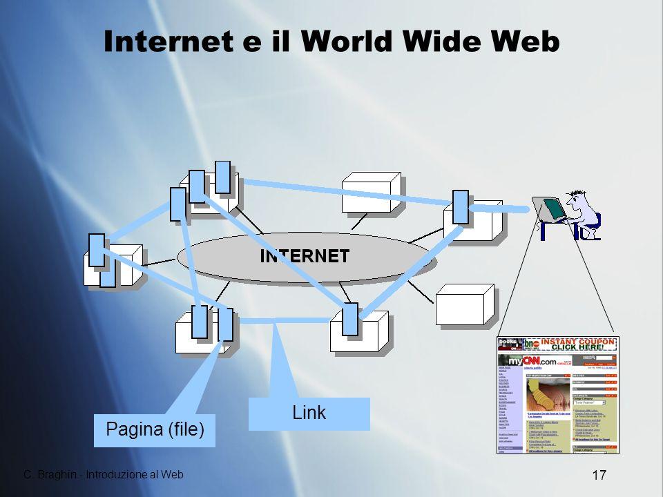 C. Braghin - Introduzione al Web 17 Internet e il World Wide Web Pagina (file) Link