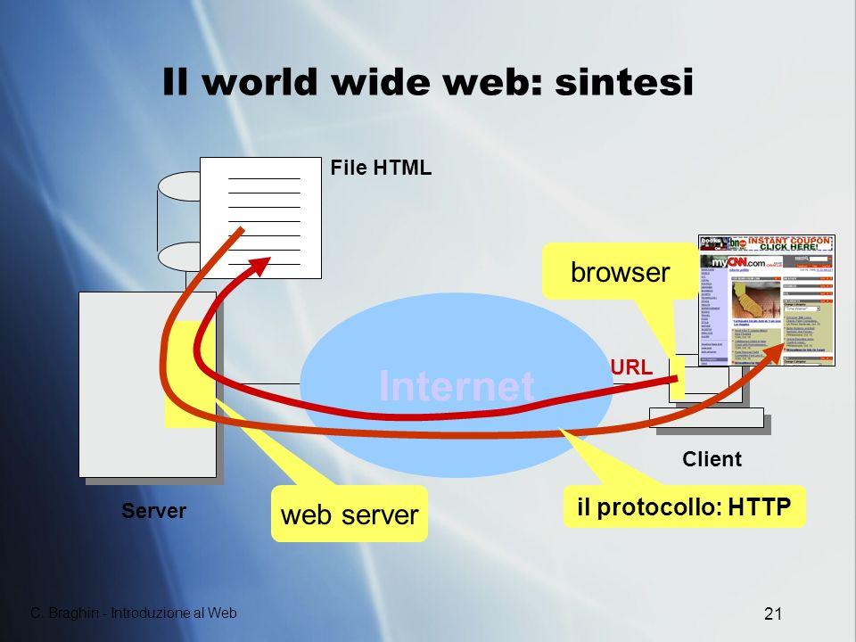 C. Braghin - Introduzione al Web 21 Il world wide web: sintesi Internet Client Server web server File HTML browser il protocollo: HTTP URL