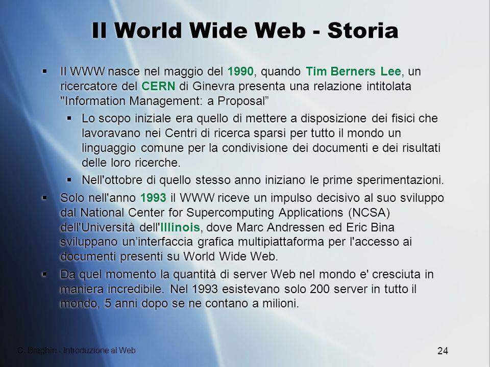 C. Braghin - Introduzione al Web 24 Il World Wide Web - Storia Il WWW nasce nel maggio del 1990, quando Tim Berners Lee, un ricercatore del CERN di Gi