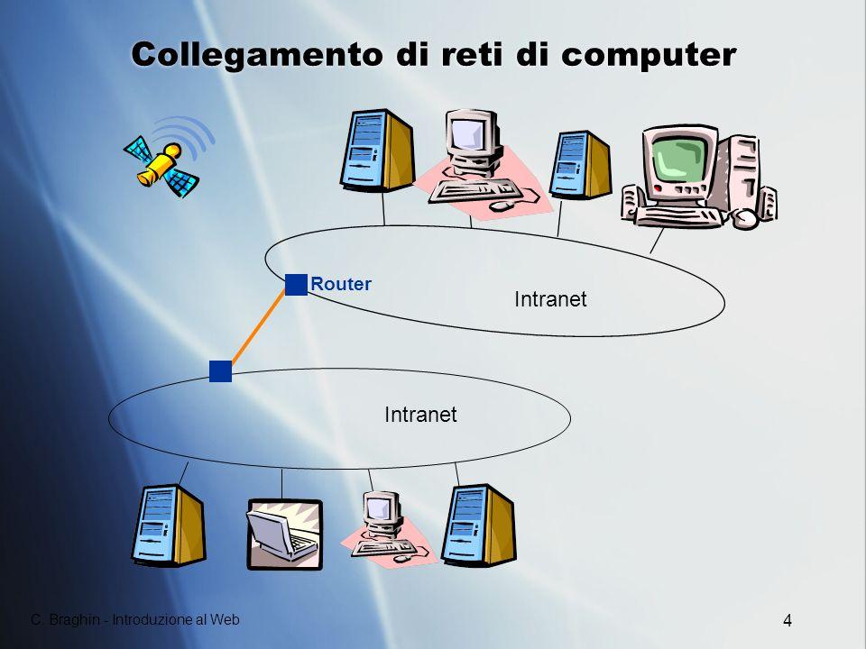 C. Braghin - Introduzione al Web 4 Collegamento di reti di computer Router Intranet