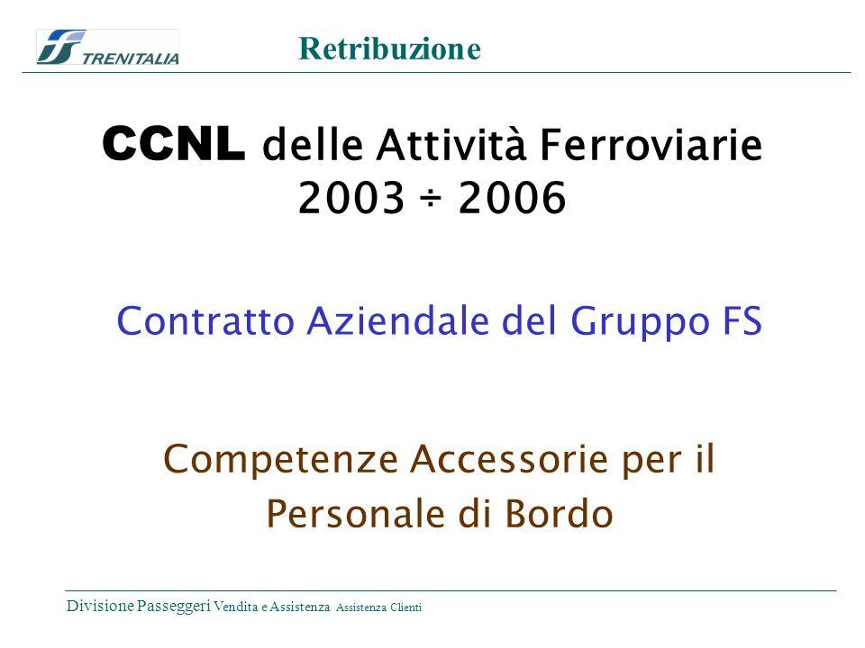 Divisione Passeggeri Vendita e Assistenza Assistenza Clienti Retribuzione CCNL delle Attività Ferroviarie 2003 ÷ 2006 Contratto Aziendale del Gruppo FS Competenze Accessorie per il Personale di Bordo