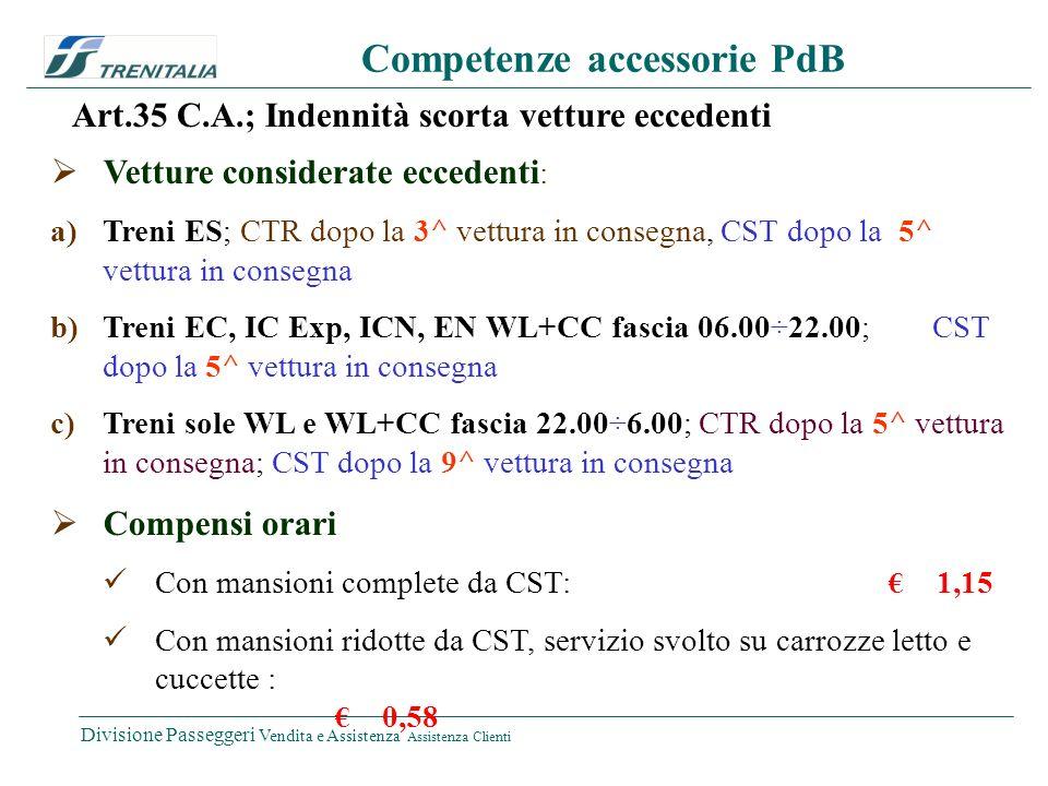Divisione Passeggeri Vendita e Assistenza Assistenza Clienti Competenze accessorie PdB Art.35 C.A.; Indennità scorta vetture eccedenti Vetture considerate eccedenti : Treni ES; CTR dopo la 3^ vettura in consegna, CST dopo la 5^ vettura in consegna Treni EC, IC Exp, ICN, EN WL+CC fascia 06.00 ÷ 22.00; CST dopo la 5^ vettura in consegna Treni sole WL e WL+CC fascia 22.00 ÷ 6.00; CTR dopo la 5^ vettura in consegna; CST dopo la 9^ vettura in consegna Compensi orari Con mansioni complete da CST: 1,15 Con mansioni ridotte da CST, servizio svolto su carrozze letto e cuccette : 0,58