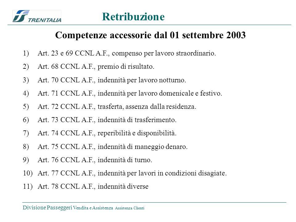 Divisione Passeggeri Vendita e Assistenza Assistenza Clienti Retribuzione Competenze accessorie dal 01 settembre 2003 1)Art.