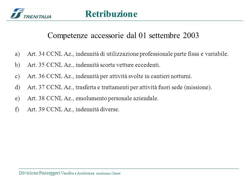 Divisione Passeggeri Vendita e Assistenza Assistenza Clienti Retribuzione Competenze accessorie dal 01 settembre 2003 a)Art. 34 CCNL Az., indennità di