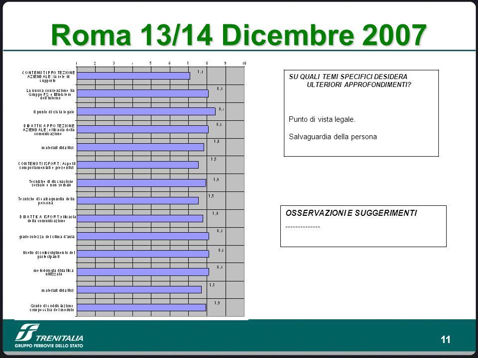 11 Roma 13/14 Dicembre 2007 SU QUALI TEMI SPECIFICI DESIDERA ULTERIORI APPROFONDIMENTI.