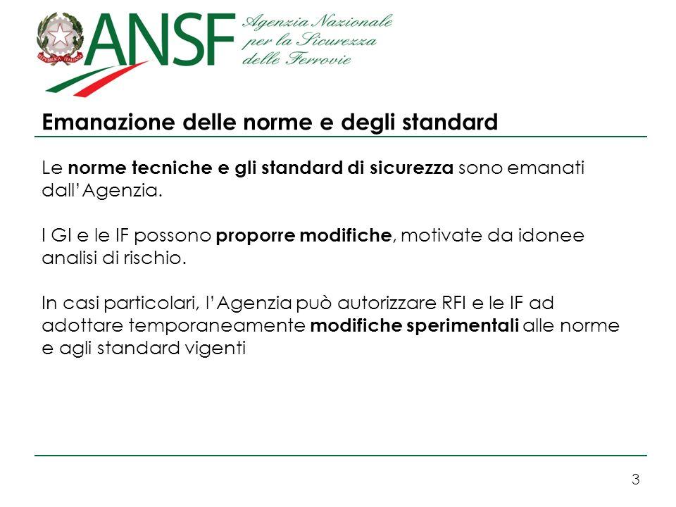 3 Emanazione delle norme e degli standard Le norme tecniche e gli standard di sicurezza sono emanati dallAgenzia. I GI e le IF possono proporre modifi