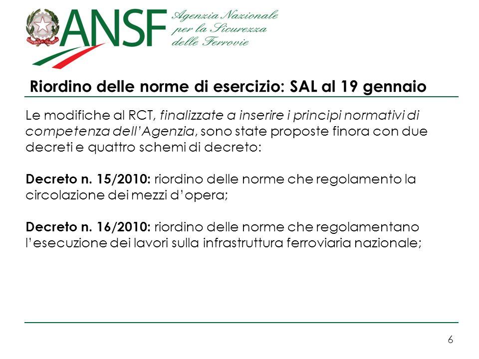 6 Riordino delle norme di esercizio: SAL al 19 gennaio Le modifiche al RCT, finalizzate a inserire i principi normativi di competenza dellAgenzia, son