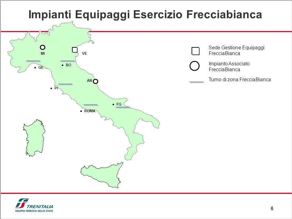 6 Impianti Equipaggi Esercizio Frecciabianca MI Impianto Associato FrecciaBianca Sede Gestione Equipaggi FrecciaBianca VE AN FG GE PI ROMA BO Turno di