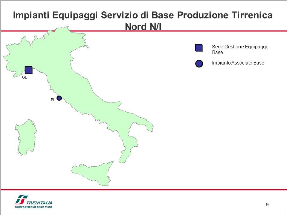 9 GE PI Impianto Associato Base Sede Gestione Equipaggi Base Impianti Equipaggi Servizio di Base Produzione Tirrenica Nord N/I