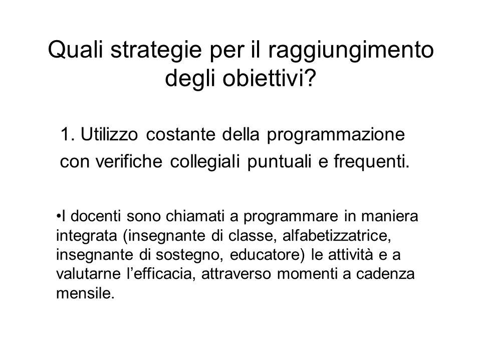 Quali strategie per il raggiungimento degli obiettivi? 1. Utilizzo costante della programmazione con verifiche collegiali puntuali e frequenti. I doce