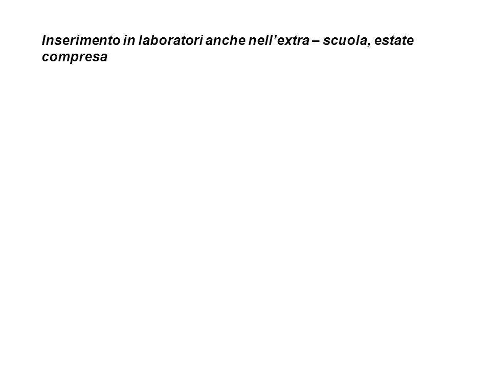 Inserimento in laboratori anche nellextra – scuola, estate compresa