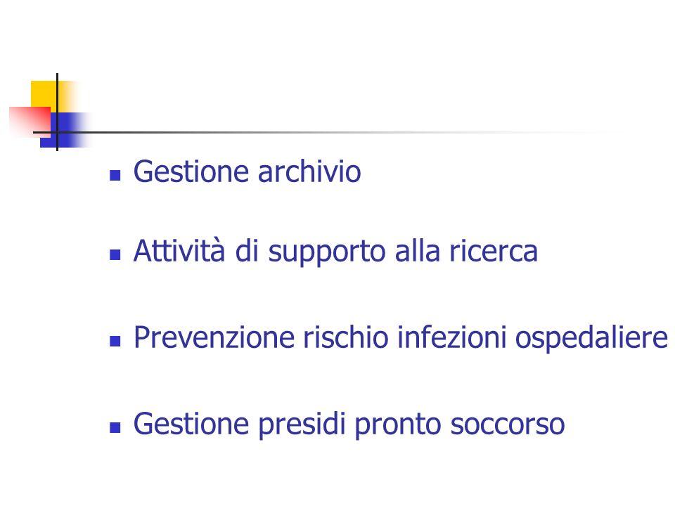 Gestione archivio Attività di supporto alla ricerca Prevenzione rischio infezioni ospedaliere Gestione presidi pronto soccorso
