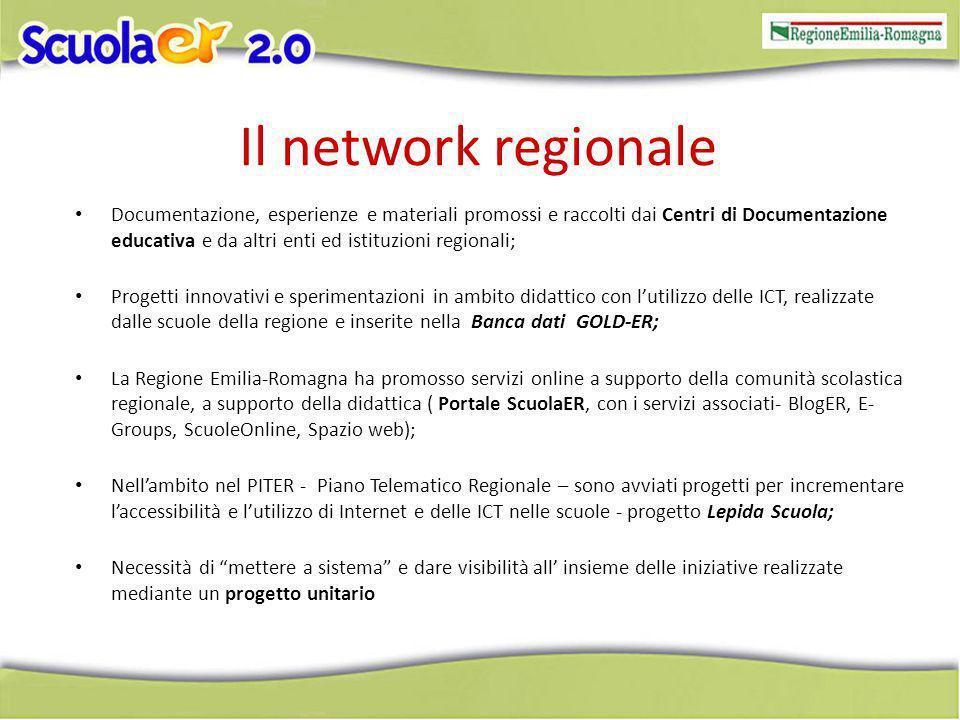 Il network regionale Documentazione, esperienze e materiali promossi e raccolti dai Centri di Documentazione educativa e da altri enti ed istituzioni regionali; Progetti innovativi e sperimentazioni in ambito didattico con lutilizzo delle ICT, realizzate dalle scuole della regione e inserite nella Banca dati GOLD-ER; La Regione Emilia-Romagna ha promosso servizi online a supporto della comunità scolastica regionale, a supporto della didattica ( Portale ScuolaER, con i servizi associati- BlogER, E- Groups, ScuoleOnline, Spazio web); Nellambito nel PITER - Piano Telematico Regionale – sono avviati progetti per incrementare laccessibilità e lutilizzo di Internet e delle ICT nelle scuole - progetto Lepida Scuola; Necessità di mettere a sistema e dare visibilità all insieme delle iniziative realizzate mediante un progetto unitario