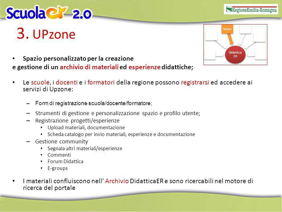 3. UPzone Spazio personalizzato per la creazione e gestione di un archivio di materiali ed esperienze didattiche; Le scuole, i docenti e i formatori d