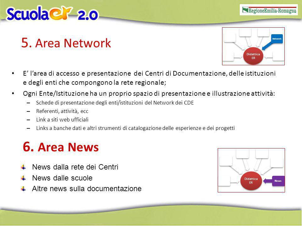 5. Area Network E larea di accesso e presentazione dei Centri di Documentazione, delle istituzioni e degli enti che compongono la rete regionale; Ogni
