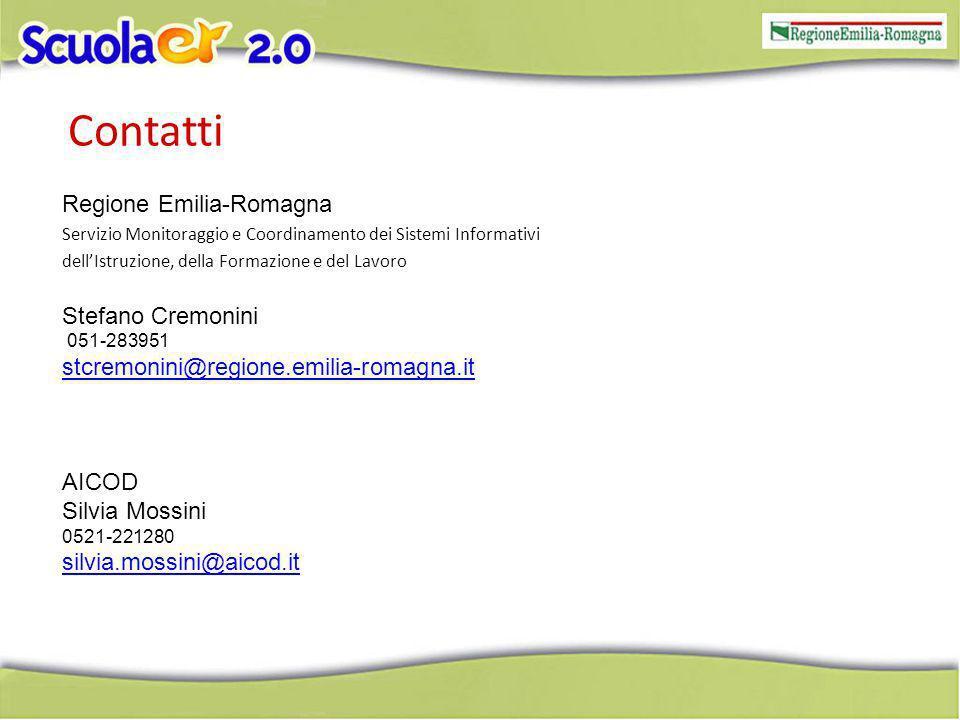 Contatti Regione Emilia-Romagna Servizio Monitoraggio e Coordinamento dei Sistemi Informativi dellIstruzione, della Formazione e del Lavoro Stefano Cremonini 051-283951 stcremonini@regione.emilia-romagna.it AICOD Silvia Mossini 0521-221280 silvia.mossini@aicod.it