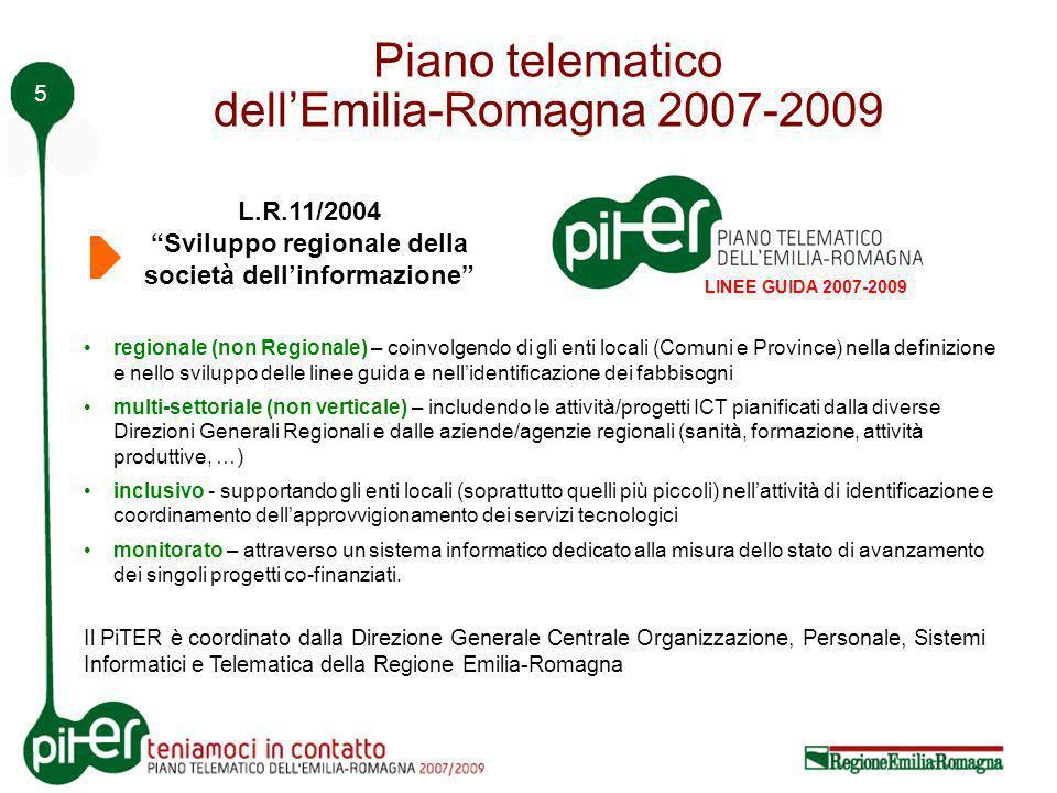 5 Piano telematico dellEmilia-Romagna 2007-2009 regionale (non Regionale) – coinvolgendo di gli enti locali (Comuni e Province) nella definizione e nello sviluppo delle linee guida e nellidentificazione dei fabbisogni multi-settoriale (non verticale) – includendo le attività/progetti ICT pianificati dalla diverse Direzioni Generali Regionali e dalle aziende/agenzie regionali (sanità, formazione, attività produttive, …) inclusivo - supportando gli enti locali (soprattutto quelli più piccoli) nellattività di identificazione e coordinamento dellapprovvigionamento dei servizi tecnologici monitorato – attraverso un sistema informatico dedicato alla misura dello stato di avanzamento dei singoli progetti co-finanziati.
