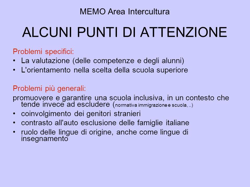 MEMO Area Intercultura ALCUNI PUNTI DI ATTENZIONE Problemi specifici: La valutazione (delle competenze e degli alunni) L'orientamento nella scelta del