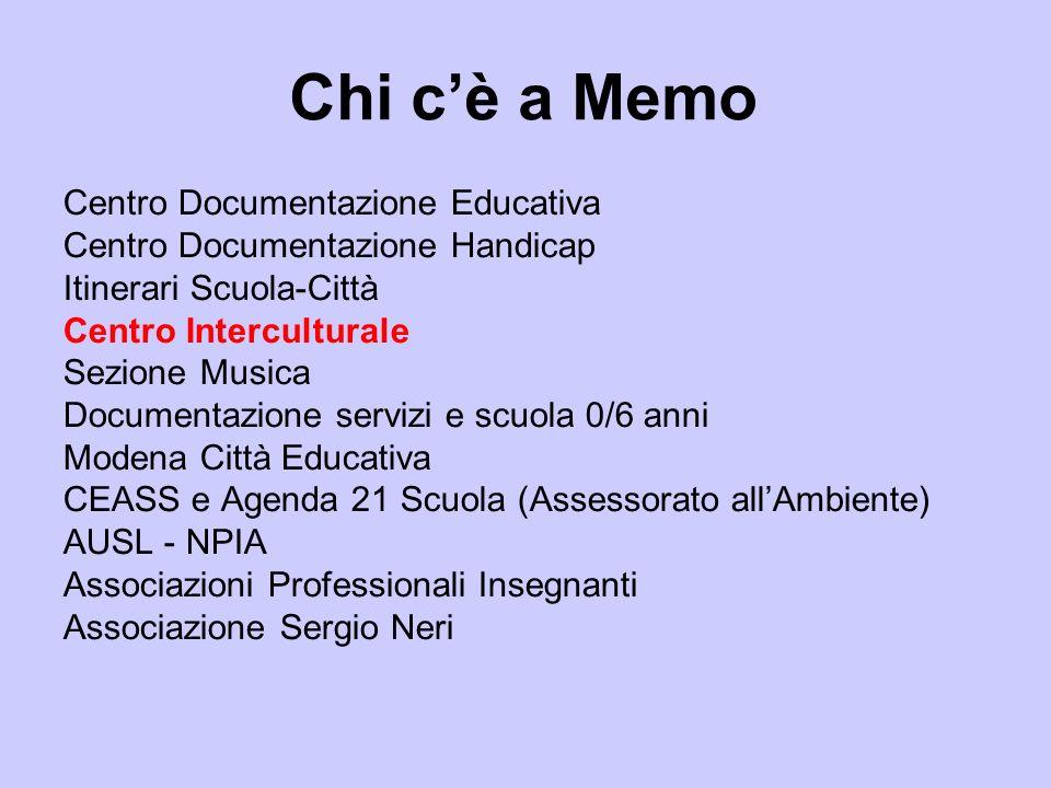 Chi cè a Memo Centro Documentazione Educativa Centro Documentazione Handicap Itinerari Scuola-Città Centro Interculturale Sezione Musica Documentazion