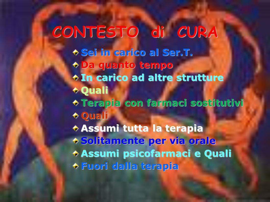 CONTESTO di CURA Sei in carico al Ser.T.