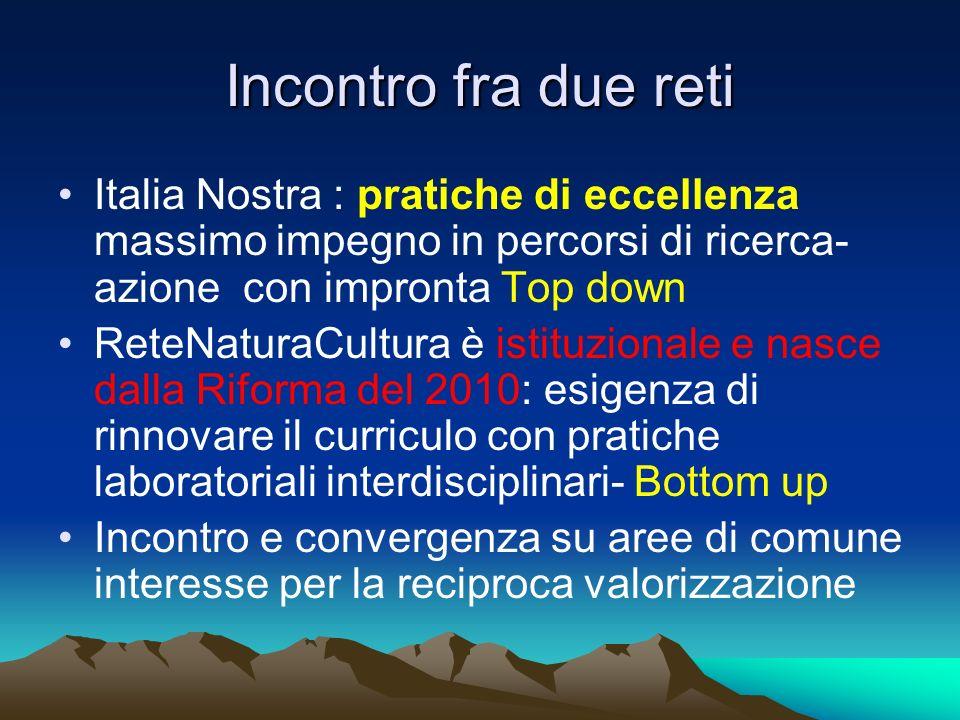 Incontro fra due reti Italia Nostra : pratiche di eccellenza massimo impegno in percorsi di ricerca- azione con impronta Top down ReteNaturaCultura è