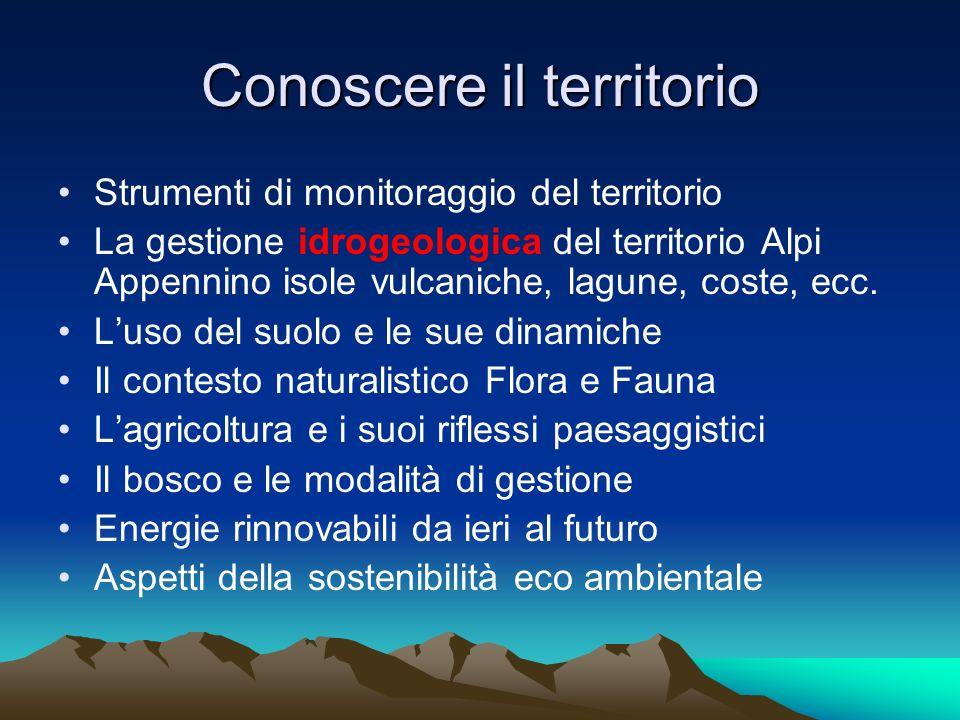 Conoscere il territorio Strumenti di monitoraggio del territorio La gestione idrogeologica del territorio Alpi Appennino isole vulcaniche, lagune, cos