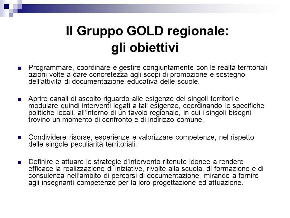 Il Gruppo GOLD regionale: gli obiettivi Programmare, coordinare e gestire congiuntamente con le realtà territoriali azioni volte a dare concretezza agli scopi di promozione e sostegno dellattività di documentazione educativa delle scuole.