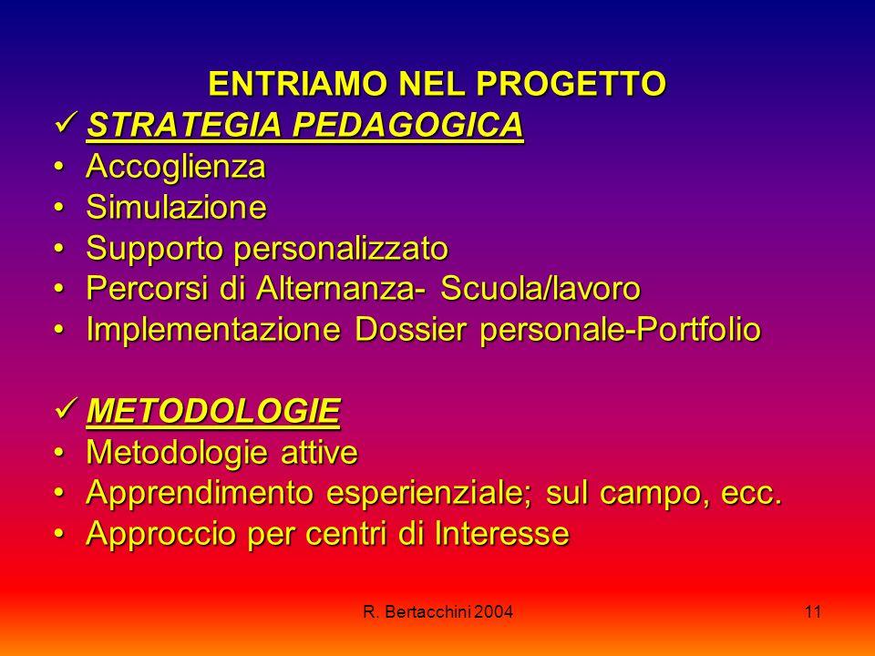 R. Bertacchini 200411 ENTRIAMO NEL PROGETTO STRATEGIA PEDAGOGICA STRATEGIA PEDAGOGICA AccoglienzaAccoglienza SimulazioneSimulazione Supporto personali