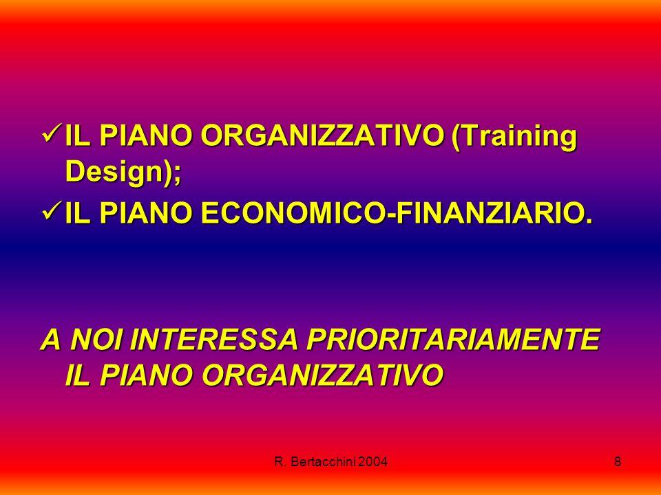 R. Bertacchini 20048 IL PIANO ORGANIZZATIVO (Training Design); IL PIANO ORGANIZZATIVO (Training Design); IL PIANO ECONOMICO-FINANZIARIO. IL PIANO ECON