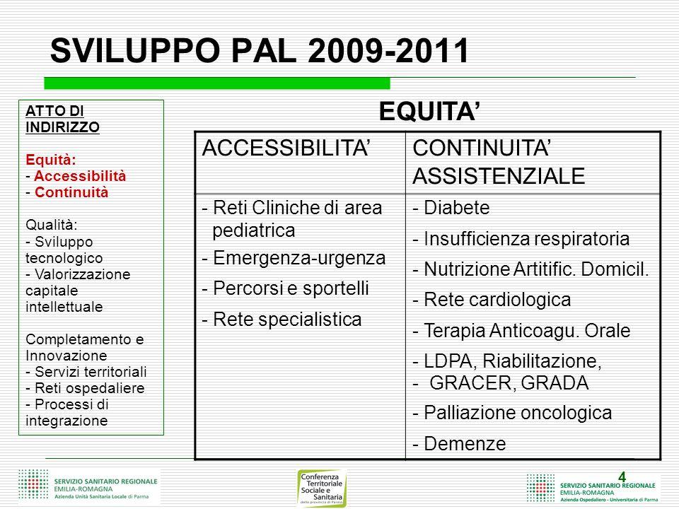 4 SVILUPPO PAL 2009-2011 ATTO DI INDIRIZZO Equità: - Accessibilità - Continuità Qualità: - Sviluppo tecnologico - Valorizzazione capitale intellettuale Completamento e Innovazione - Servizi territoriali - Reti ospedaliere - Processi di integrazione ACCESSIBILITA CONTINUITA ASSISTENZIALE - Reti Cliniche di area pediatrica - Emergenza-urgenza - Percorsi e sportelli - Rete specialistica - Diabete - Insufficienza respiratoria - Nutrizione Artitific.