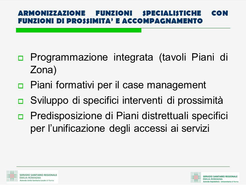 ARMONIZZAZIONE FUNZIONI SPECIALISTICHE CON FUNZIONI DI PROSSIMITA E ACCOMPAGNAMENTO Programmazione integrata (tavoli Piani di Zona) Piani formativi pe