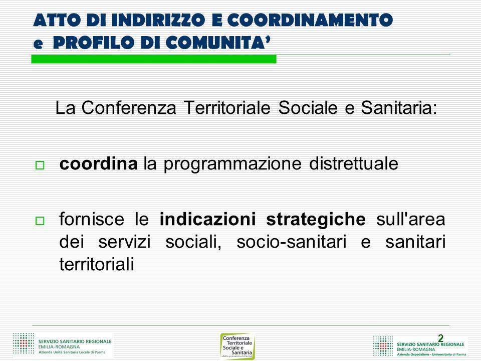 2 ATTO DI INDIRIZZO E COORDINAMENTO e PROFILO DI COMUNITA La Conferenza Territoriale Sociale e Sanitaria: coordina la programmazione distrettuale forn