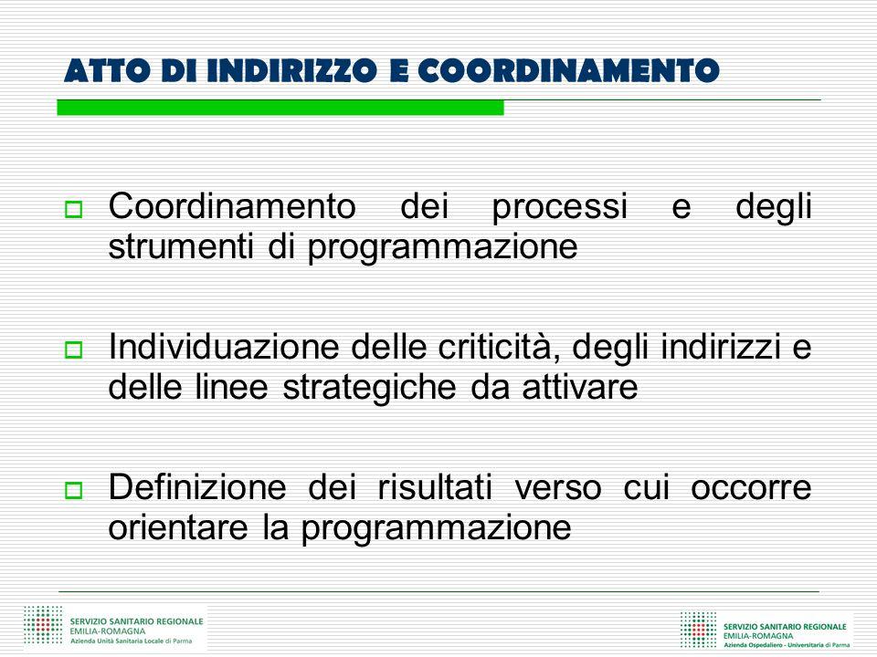 ATTO DI INDIRIZZO E COORDINAMENTO Coordinamento dei processi e degli strumenti di programmazione Individuazione delle criticità, degli indirizzi e del