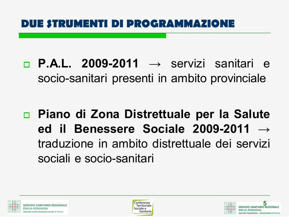 5 DUE STRUMENTI DI PROGRAMMAZIONE P.A.L. 2009-2011 servizi sanitari e socio-sanitari presenti in ambito provinciale Piano di Zona Distrettuale per la