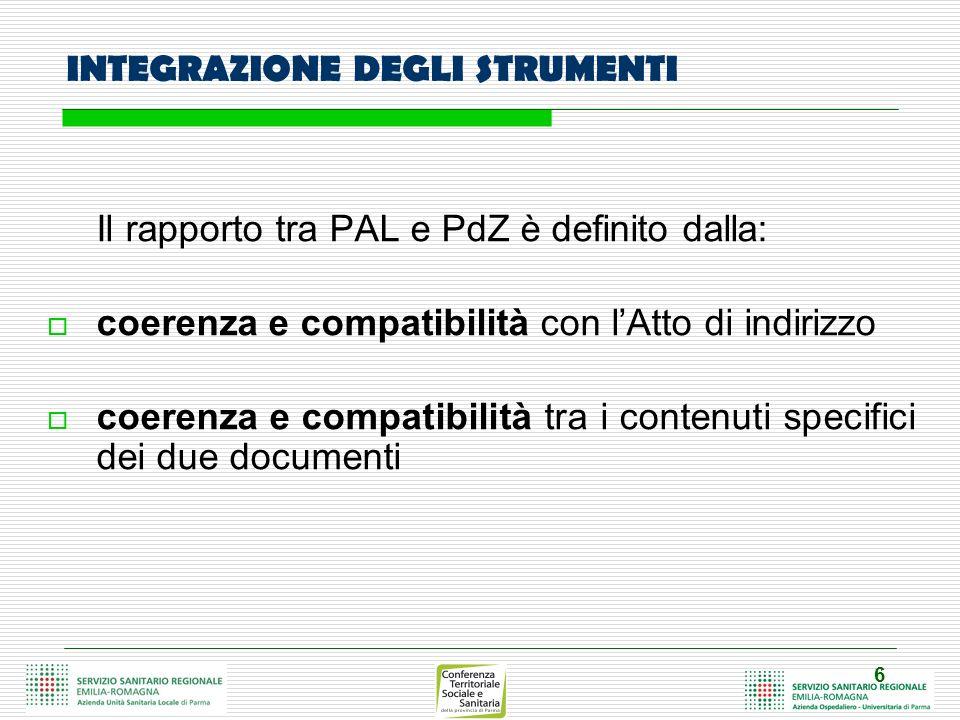 6 INTEGRAZIONE DEGLI STRUMENTI Il rapporto tra PAL e PdZ è definito dalla: coerenza e compatibilità con lAtto di indirizzo coerenza e compatibilità tra i contenuti specifici dei due documenti